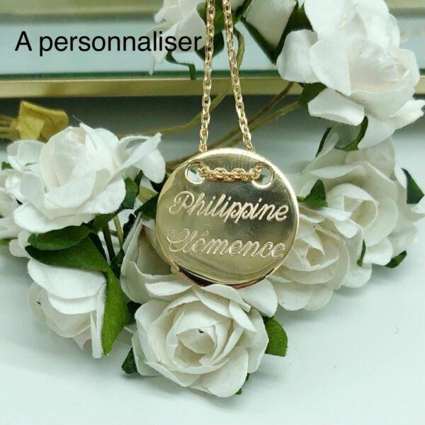 Collier Gravé et Personnalisé Médaille ronde 2 trous | Wallis